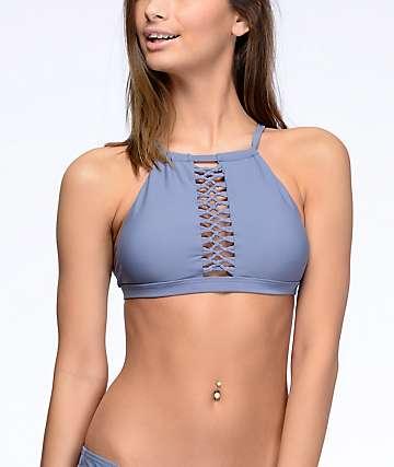 Damsel Caged top de bikini cuello alto en gris