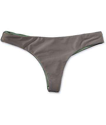 Damsel Charcoal & Green Reversible Cheeky Bikini Bottom