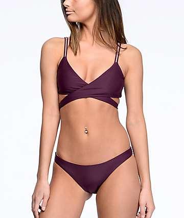 Damsel Cheeky bottom de bikini reversible en colores vino y malva