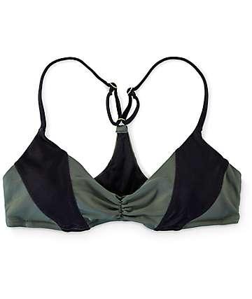 Damsel Color Block Olive Bralette Bikini Top