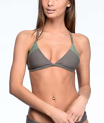 Damsel Colorblock Olive Triangle Bikini Top