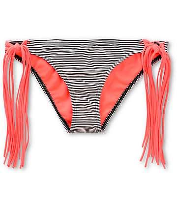 Damsel Coral Mini Stripe Fringe Tie Side Bikini Bottom