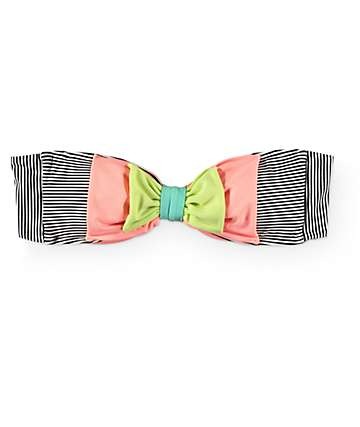 Damsel Double Bow Mini Stripe Bandeau Bathing Suit Top