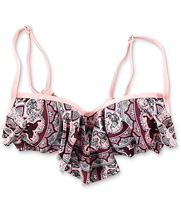 Damsel Elephant Medallion Flounce Bikini Top