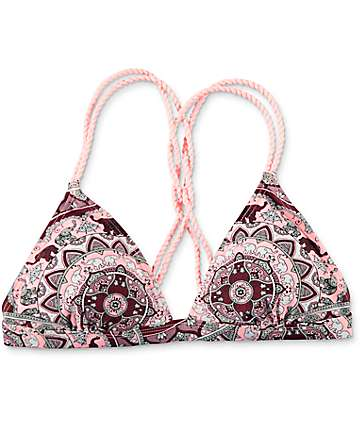 Damsel Elephant Medallion Triangle Bikini Top