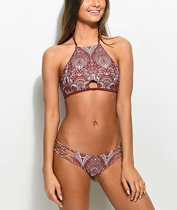 Damsel Henna Lace bottom de bikini super cheeky en color herrumbre