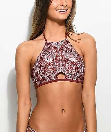 Damsel Henna Lace top de bikini cabestro en color herrumbre