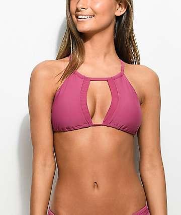 Damsel Keyhole top de bikini con cuello alto en rosa