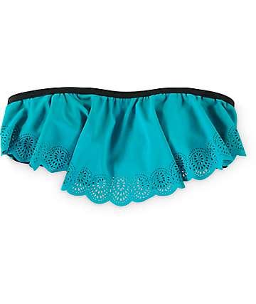 Damsel Lasercut Sage Flounce Bandeau Bikini Top