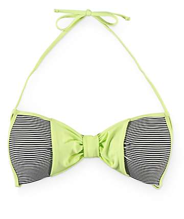 Damsel Lime Bow Mini Stripe Molded Cup Bikini Top