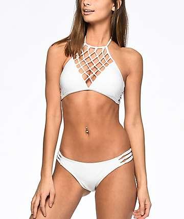Damsel Macramé Cheeky bottom de bikini en blanco
