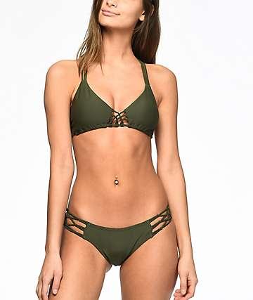 Damsel Macramé Cheeky bottom de bikini en verde olivo