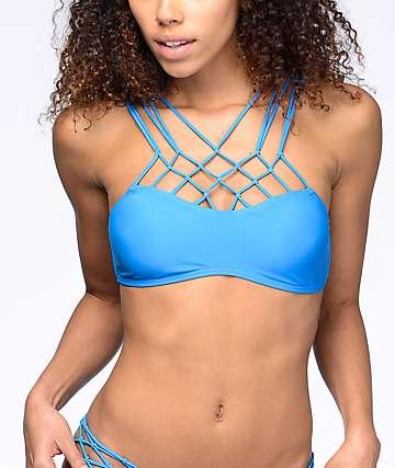 Damsel Macramé top de bikini bralette en azul