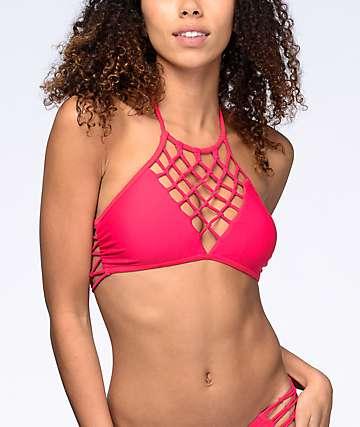 Damsel Macramé top de bikini cuello alto en rojo