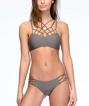 Damsel Macrame Side Pebble Grey Super Cheeky Bikini Bottom