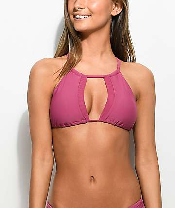 Damsel Mesh Keyhole Taro High Neck Bikini Top