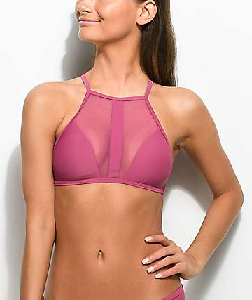 Damsel Mesh Side Taro High Neck Bikini Top