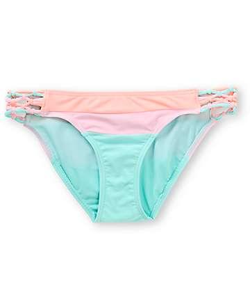 Damsel Pastel Colorblock Macrame Tab Side Bikini Bottom