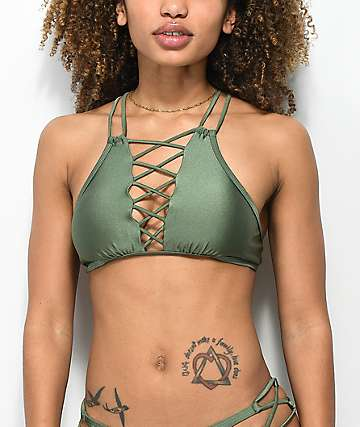 Damsel Shimmer Green Lace Up High Neck Bikini Top