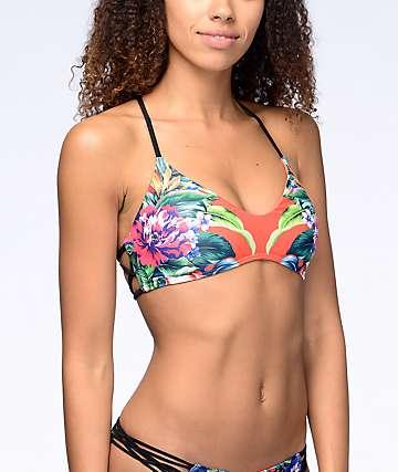 Damsel Tropical Escape top de bikini bralette naranja