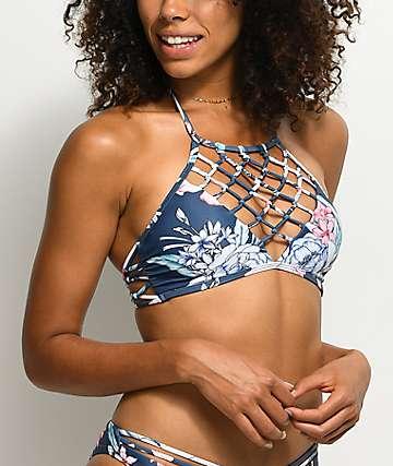 Damsel Waikiki Blue Floral Halter Bikini Top