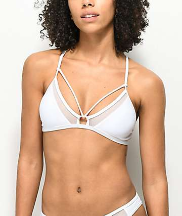 Damsel White Mesh Triangle Bralette Bikini Top