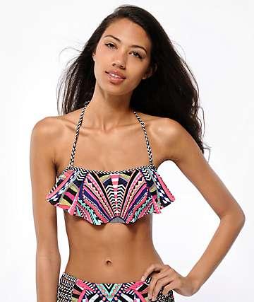 Damsel Wonderland Tribal Print Flounce Bikini Top