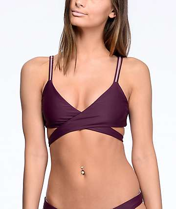 Damsel Wrap top de bikini reversible en colores vino y malva