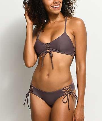 Damsel bottom de bikini cheeky reversible en morado y color malva