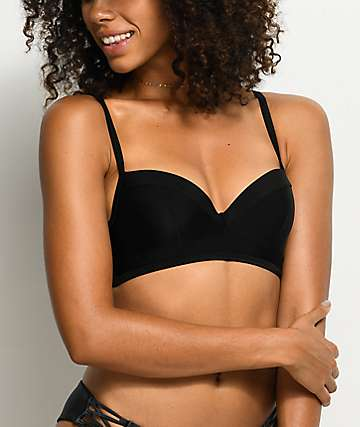 Damsel top de bikini bralette moldeado en negro