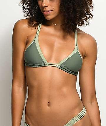 Damsel top de bikini triangulo en verde militar