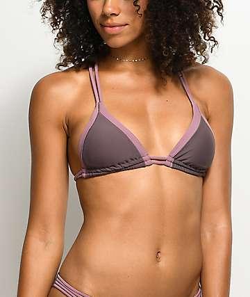 Damsel top de bikini triangulo y morado y color malva