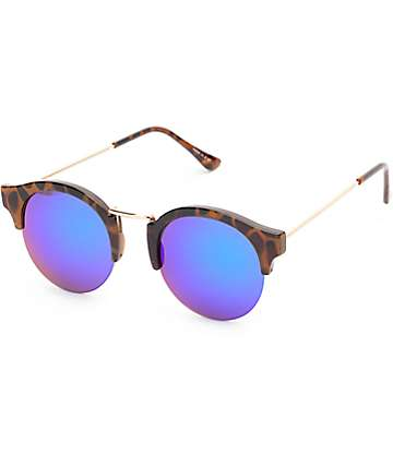 Daphne Tortoise Green & Blue Mirror Sunglasses