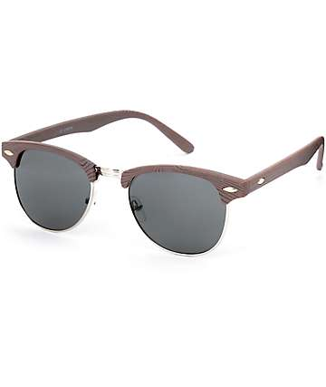Dark Faux Wood Clubmaster Sunglasses
