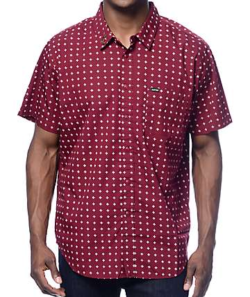 Dark Seas Abaft Burgundy Button Up Shirt