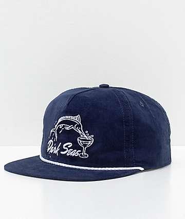 Dark Seas Albany gorra de pana en azul marino