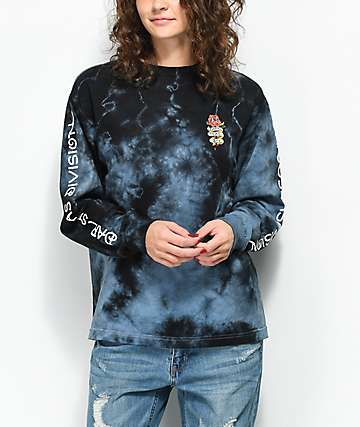 Dark Seas Amore Rose Black Tie Dye Long Sleeve T-Shirt