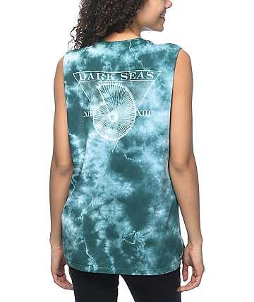 Dark Seas Blue Sunday camiseta con sisas recortadas con efecto tie dye