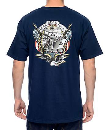 Dark Seas Bunker Hill Navy T-Shirt