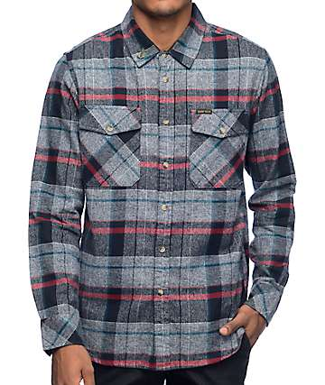 Dark Seas Centerboard Navy & Grey Long Sleeve Flannel Shirt