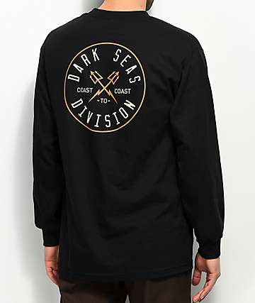 Dark Seas Coastal Guard Black Long Sleeve T-Shirt