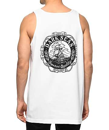 Dark Seas Cold Current White Tank Top