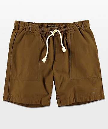 Dark Seas Crewman Easy Waist Shorts en verde olivo