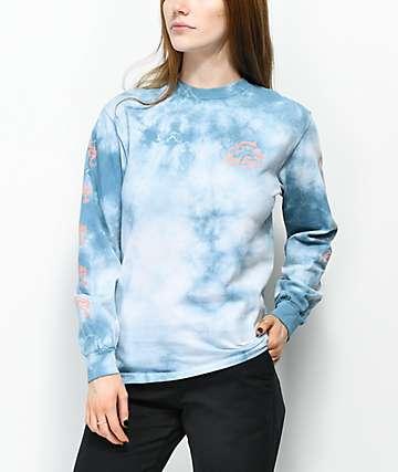 Dark Seas Dinos Dive Blue Tie Dye Long Sleeve T-Shirt