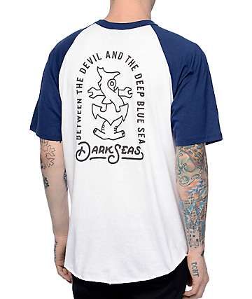 Dark Seas Entwine Navy & White Baseball T-Shirt