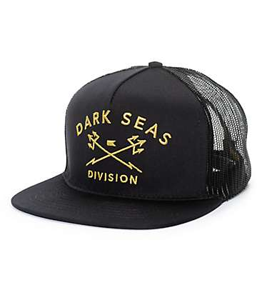 Dark Seas F.O.A.D. Black & Gold Mesh Snapback Hat