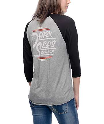 Dark Seas Fast Times Black & Grey Baseball T-Shirt