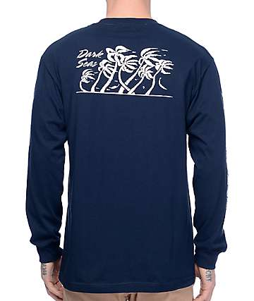 Dark Seas Flurry II Navy Long Sleeve T-Shirt