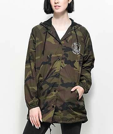 Dark Seas Forbidden Camo Hooded Coaches Jacket