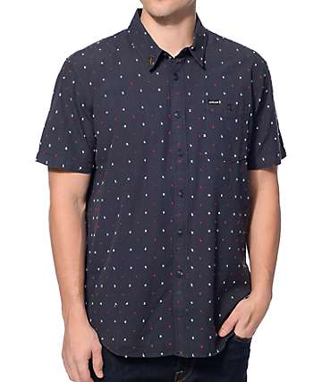 Dark Seas Forecastle Navy Button Up Shirt